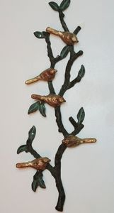 Vintage cast iron wall hanging -branch with birds
